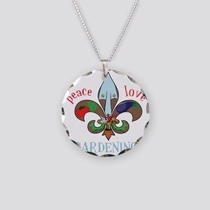 Peace Love Gardening Necklace Circle Charm