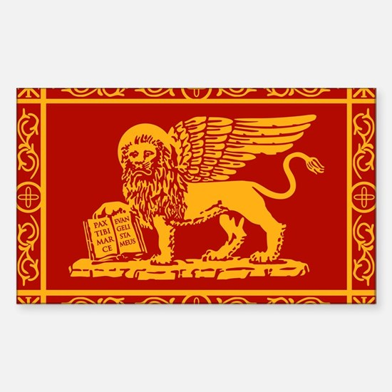 venetian flag rug Sticker (Rectangle)