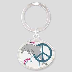 Peace Love Dolphins Oval Keychain