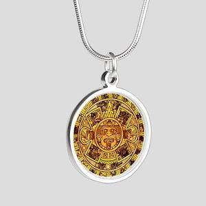 Aztec Calendar Silver Round Necklace