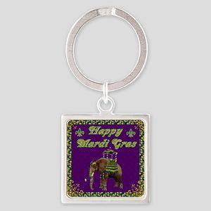 Happy Mardi Gras Elephant Square Keychain
