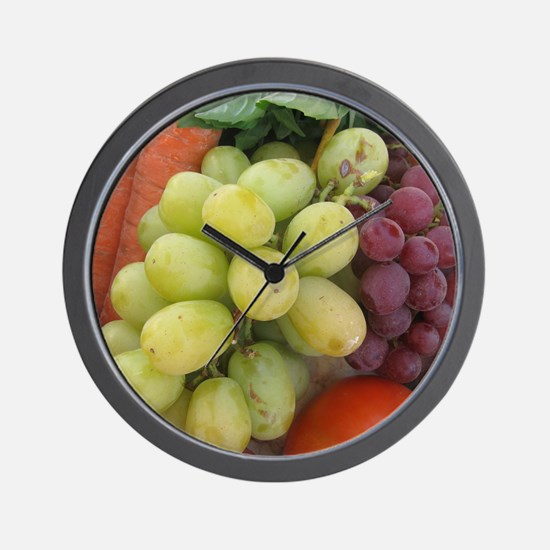 luscious wine country style fruit with  Wall Clock