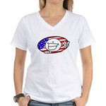 Patriotic Peace Happy Face Women's V-Neck T-Shirt