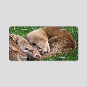 European otters Aluminum License Plate