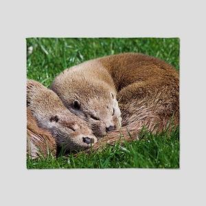 European otters Throw Blanket