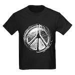 Urban Peace Sign Sketch Kids Dark T-Shirt