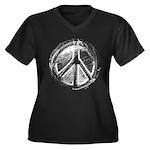 Urban Peace Sign Sketch Women's Plus Size V-Neck D