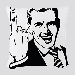 The Middle Finger Woven Throw Pillow