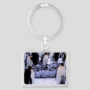 Emperor penguin chicks huddling Landscape Keychain