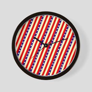 Stars  Stripes Wave July 4th BBQ Wall Clock