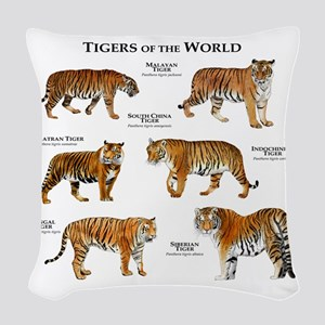Tigers of the World Woven Throw Pillow