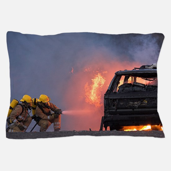 Firefighters hosing a burning car Pillow Case