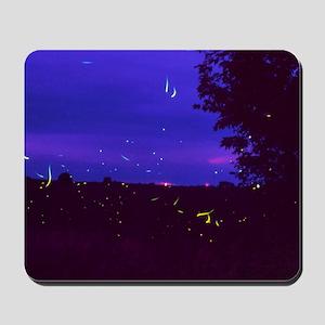 Fireflies over bean fields in Iowa Mousepad