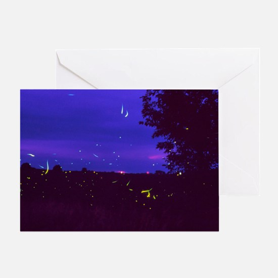 Fireflies over bean fields in Iowa Greeting Card