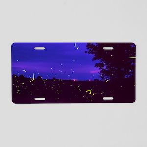 Fireflies over bean fields  Aluminum License Plate