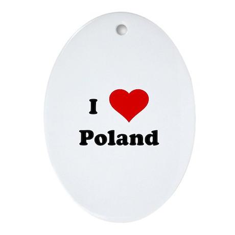 I Love Poland Oval Ornament