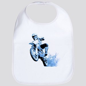 Blue Dirtbike Wheeling in Mud Bib