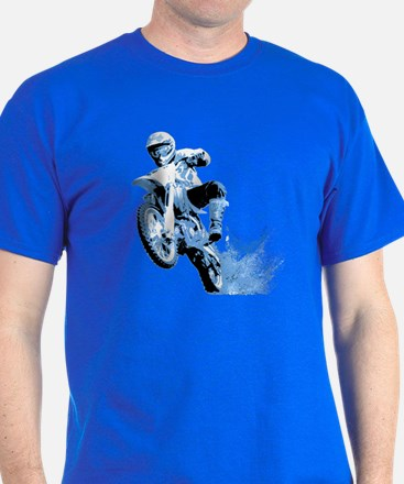 Blue Dirtbike Wheeling in Mud T-Shirt