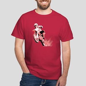 Red Dirtbike Wheeling in Mud Dark T-Shirt