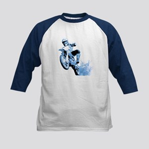 Blue Dirtbike Wheeling in Mud Kids Baseball Jersey
