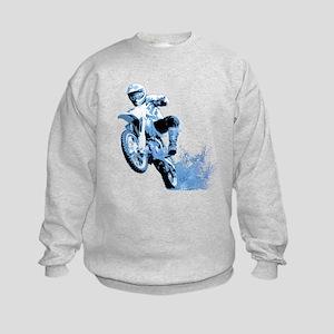 Blue Dirtbike Wheeling in Mud Kids Sweatshirt