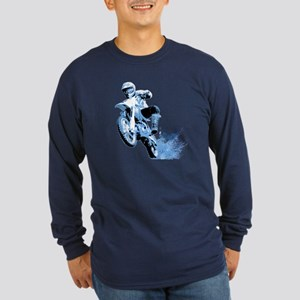 Blue Dirtbike Wheeling in Mud Long Sleeve Dark T-S