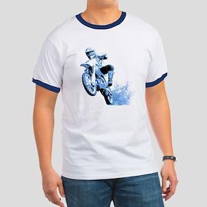 Blue Dirtbike Wheeling in Mud Ringer T