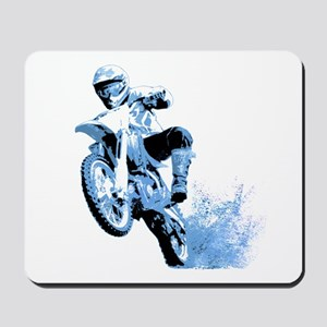 Blue Dirtbike Wheeling in Mud Mousepad