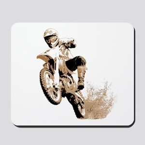 Dirt bike wheeling in mud Mousepad