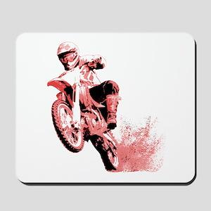 Red Dirtbike Wheeling in Mud Mousepad