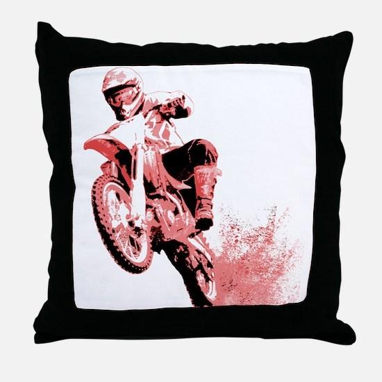Red Dirtbike Wheeling in Mud Throw Pillow
