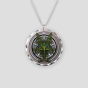 Ivy Celtic Greenman Pentacle Necklace Circle Charm