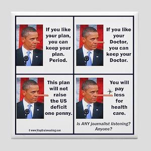 Obamacare Pinocchios Tile Coaster
