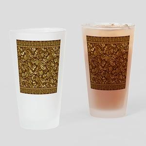 Metallic Gold  Brown Vintage Floral Drinking Glass