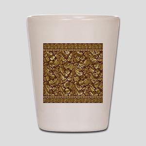 Metallic Gold  Brown Vintage Floral Dam Shot Glass