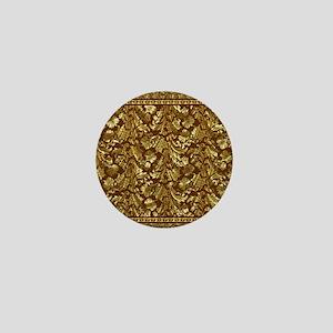 Metallic Gold  Brown Vintage Floral Da Mini Button