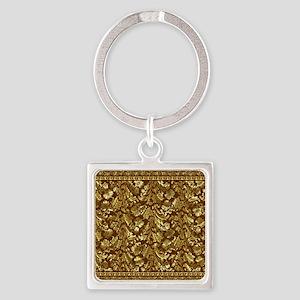 Metallic Gold  Brown Vintage Flora Square Keychain
