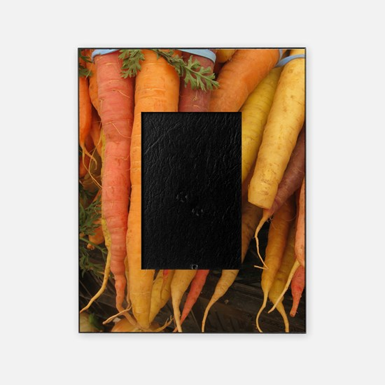 an assortment of long organic carrot Picture Frame