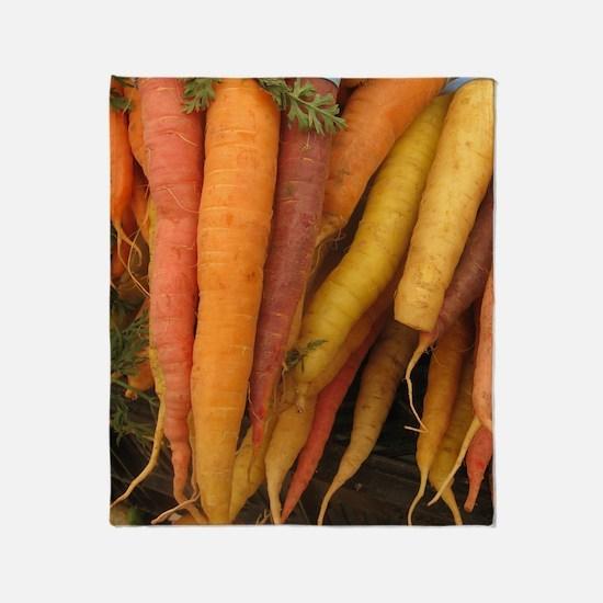 an assortment of long organic carrot Throw Blanket
