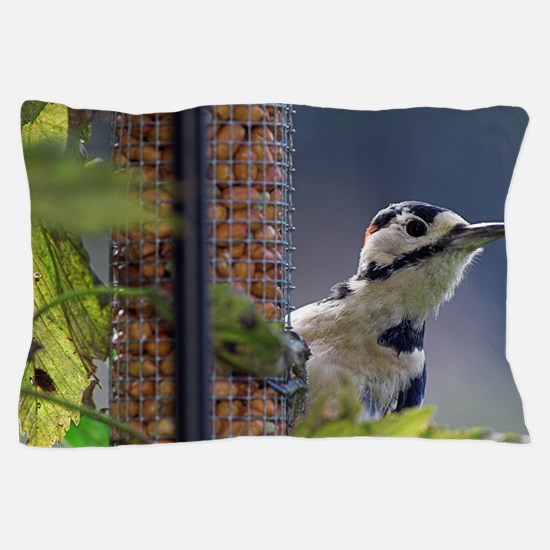 Great spotted woodpecker feeding Pillow Case
