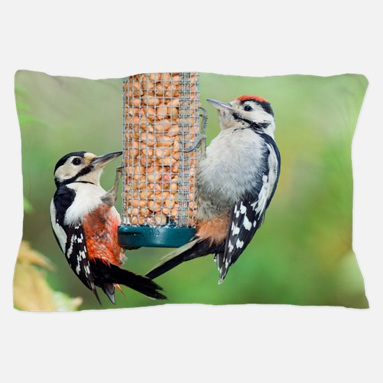 Great spotted woodpeckers feeding Pillow Case
