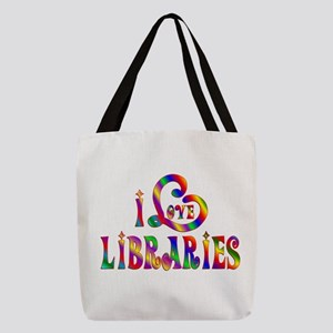 I Love Libraries Polyester Tote Bag