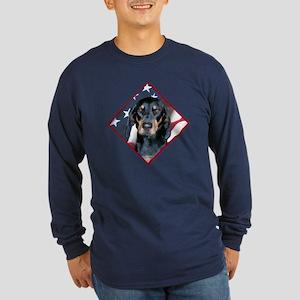 Black & Tan Flag 2 Long Sleeve Dark T-Shirt