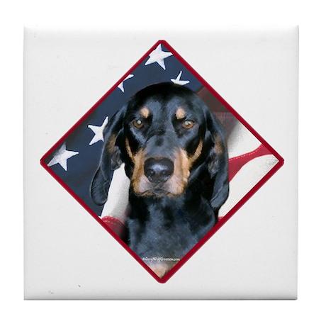 Black & Tan Flag 2 Tile Coaster