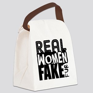 Real Women Fake Fur Canvas Lunch Bag