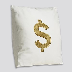 Gold Dollar Burlap Throw Pillow
