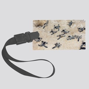 Green turtle hatchlings Large Luggage Tag