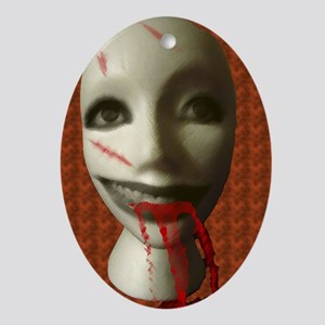 Scary Dummy Head Oval Ornament