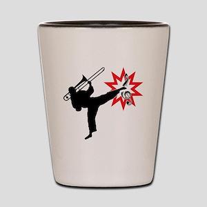 Music Karate Kick Shattering Treble Cle Shot Glass