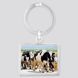 Herd of cows and goats Landscape Keychain
